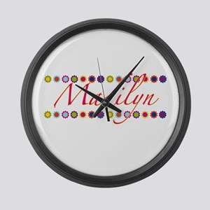 Madilyn with Flowers Large Wall Clock