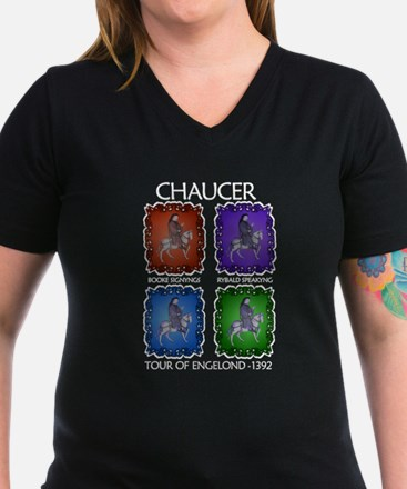 Chaucer 1392 Tour Women's V-Neck Black T-Shirt