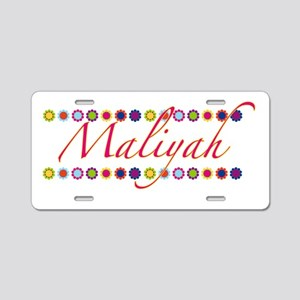 Maliyah with Flowers Aluminum License Plate