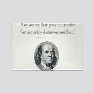 Benjamin Franklin Freedom for Security Quot Magnet