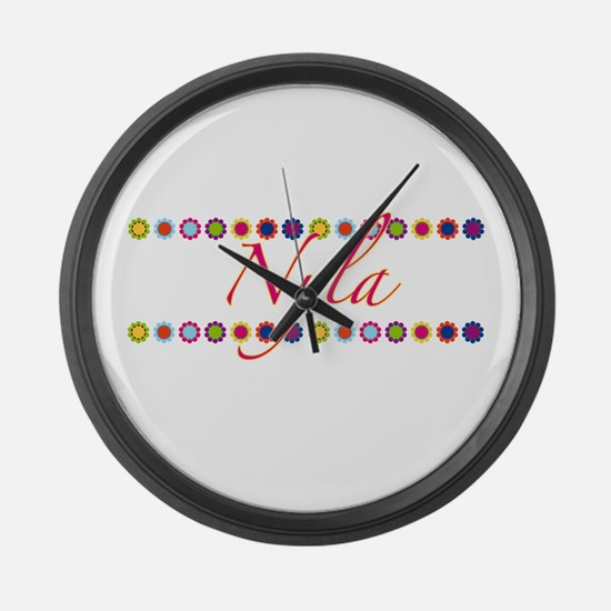 Nyla with Flowers Large Wall Clock