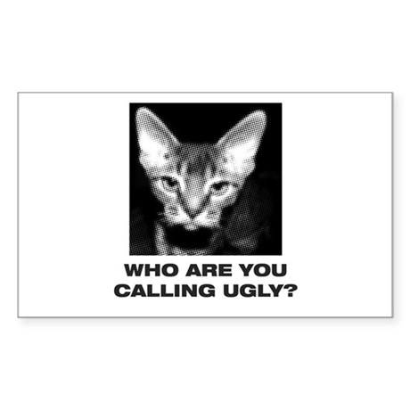 Ugly Cat Rectangle Sticker