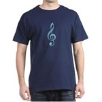 Arty Blue Treble Clef Black T-Shirt
