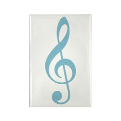 Arty Blue Treble Clef Rectangle Magnet
