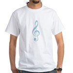 Arty Lt. Blue Treble Clef White T-Shirt
