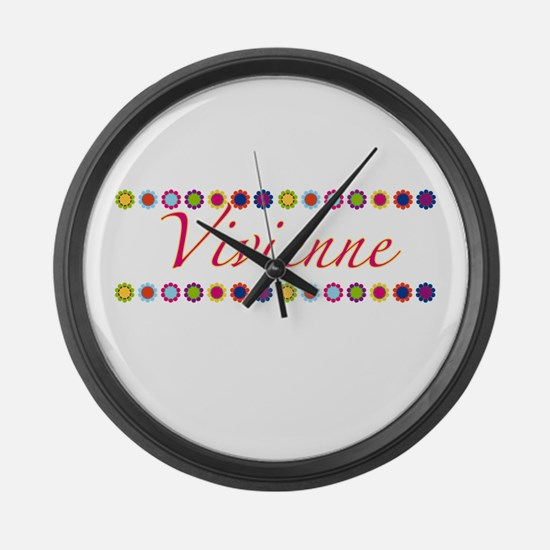 Vivienne with Flowers Large Wall Clock