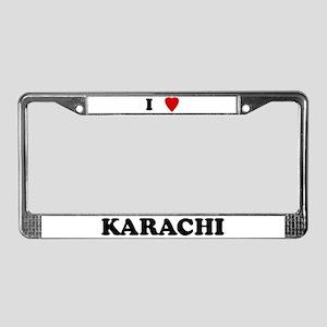 I Love Karachi License Plate Frame