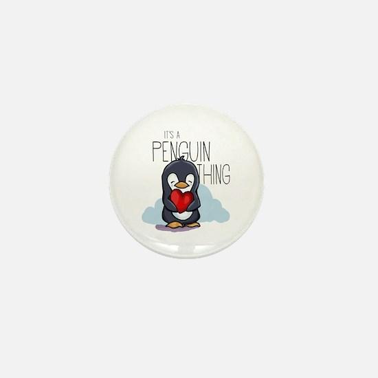 Cute Penguin love Mini Button