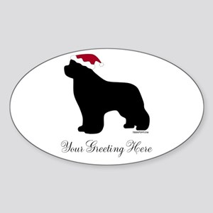 Newf Santa - Your Text Sticker (Oval)
