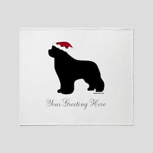 Newf Santa - Your Text Throw Blanket