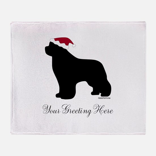 Newf Santa - Your Text Throw Blanket
