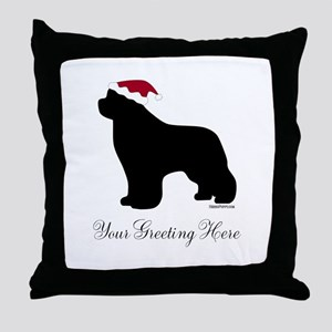 Newf Santa - Your Text Throw Pillow