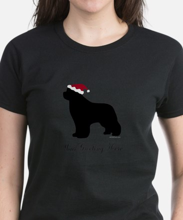 Newf Santa - Your Text Women's Dark T-Shirt