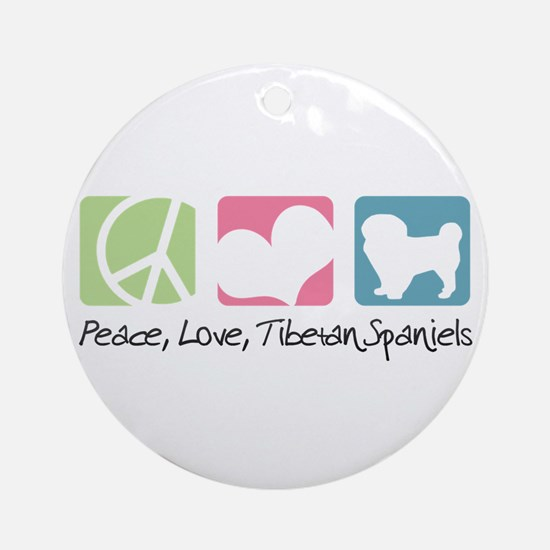 Peace, Love, Tibetan Spaniels Ornament (Round)