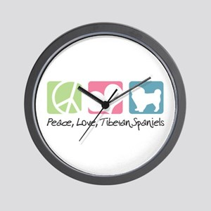 Peace, Love, Tibetan Spaniels Wall Clock