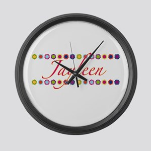 Jayleen with Flowers Large Wall Clock