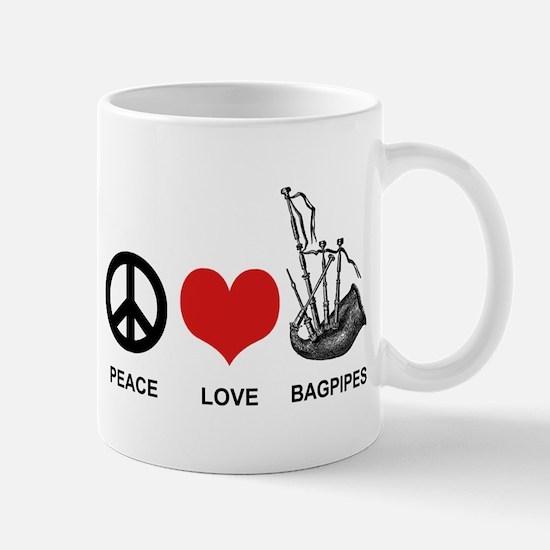 Peace Love Bagpipes Mug
