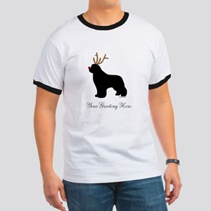 Reindeer Newf - Your Text Ringer T