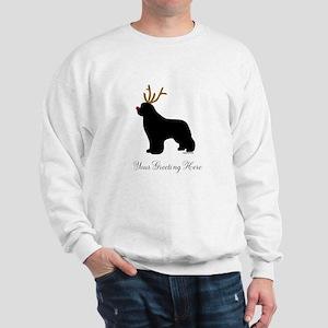Reindeer Newf - Your Text Sweatshirt