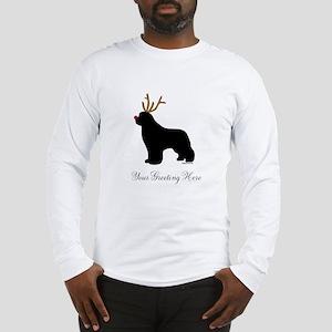 Reindeer Newf - Your Text Long Sleeve T-Shirt