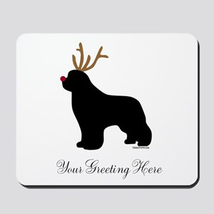 Reindeer Newf - Your Text Mousepad
