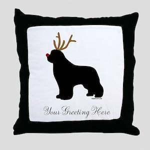 Reindeer Newf - Your Text Throw Pillow