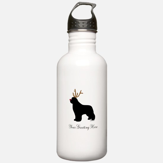 Reindeer Newf - Your Text Water Bottle