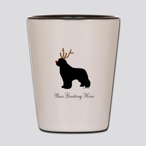 Reindeer Newf - Your Text Shot Glass