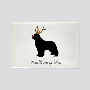 Reindeer Newf - Your Text Rectangle Magnet