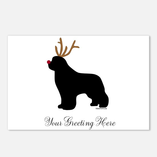 Reindeer Newf - Your Text Postcards (Package of 8)