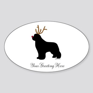 Reindeer Newf - Your Text Sticker (Oval)