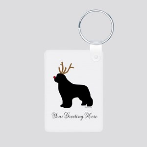 Reindeer Newf - Your Text Aluminum Photo Keychain