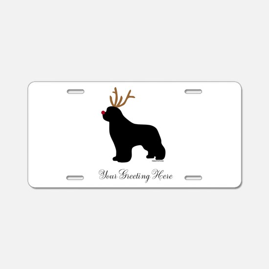 Reindeer Newf - Your Text Aluminum License Plate