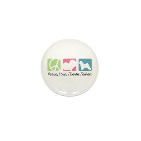Peace, Love, Tibetan Terriers Mini Button
