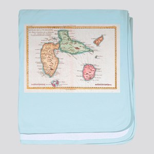 Vintage Map of Guadeloupe (1780) baby blanket