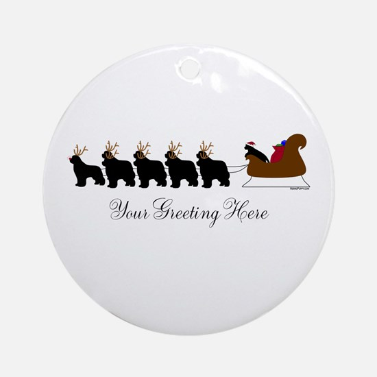 Newf Sleigh - Your Text Ornament (Round)