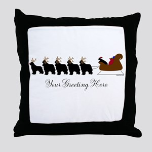 Newf Sleigh - Your Text Throw Pillow