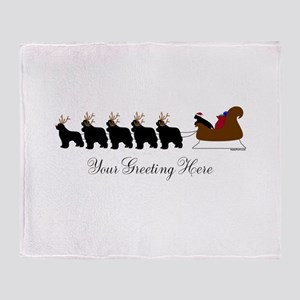 Newf Sleigh - Your Text Throw Blanket