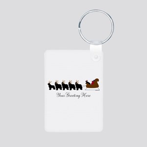 Newf Sleigh - Your Text Aluminum Photo Keychain