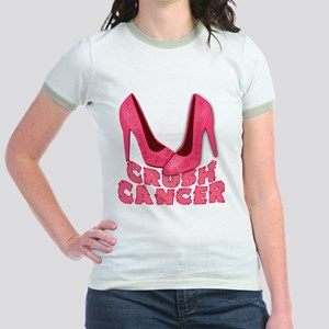 Crush Cancer with Pink Heels Jr. Ringer T-Shirt