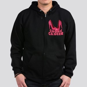 Crush Cancer with Pink Heels Zip Hoodie (dark)