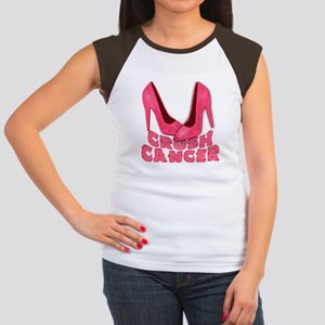 Crush Cancer with Pink Heels Women's Cap Sleeve T-
