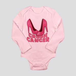 Crush Cancer with Pink Heels Long Sleeve Infant Bo