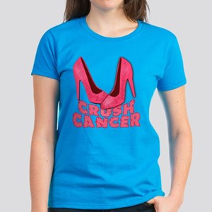 Crush Cancer with Pink Heels Women's Dark T-Shirt