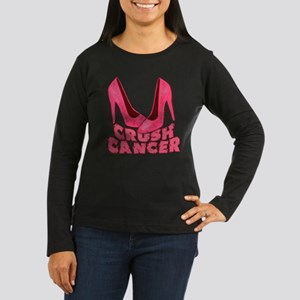 Crush Cancer with Pink Heels Women's Long Sleeve D