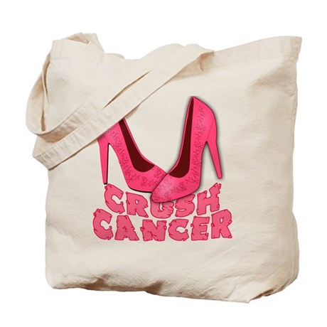 Crush Cancer with Pink Heels Tote Bag