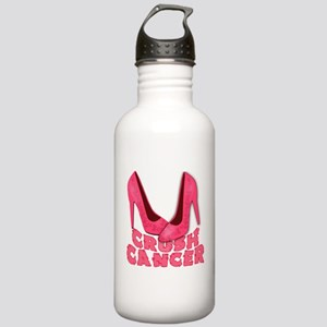 Crush Cancer with Pink Heels Stainless Water Bottl