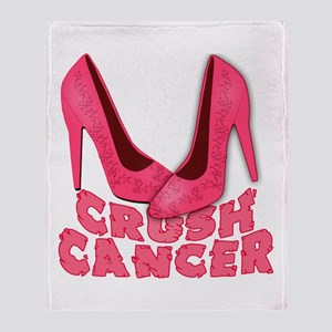 Crush Cancer with Pink Heels Throw Blanket