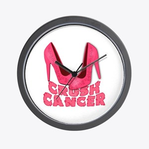 Crush Cancer with Pink Heels Wall Clock