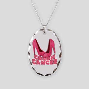 Crush Cancer with Pink Heels Necklace Oval Charm